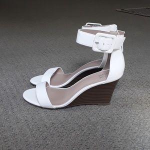NEW white NY&C Ankle-Strap Wedge Sandal